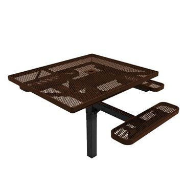 """RHINO 46"""" x 54"""" Square ADA Complaint Thermoplastic Polyolefin Coated Pedestal Red Picnic Table"""