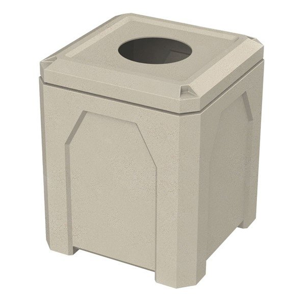 """52 Gallon Plastic Receptacle with 4"""" Open Flat Top"""