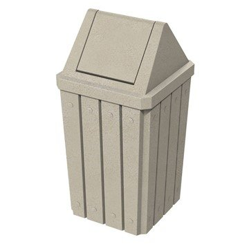 32 Gallon Plastic Receptacle With Liner And Swing Lid