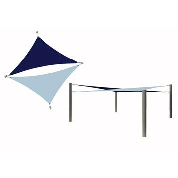 Multi-Sail Square Fabric Shade Structure With 14 Ft. Entry Height Powder-Coated Steel Columns - Base Model