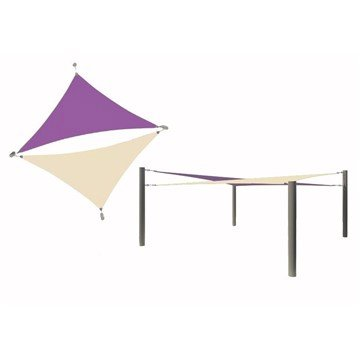 Multi-Sail Square Fabric Shade Structure With 12 Ft. Entry Height Powder-Coated Steel Columns - Base Model