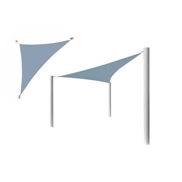 Triangle Fabric Sail Shade Structure With 10 Ft. Entry Height Powder-Coated Steel Columns - Base Model