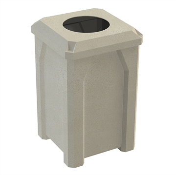 """32 Gallon Plastic Receptacle with 10"""" Recycle Lid & Liner"""