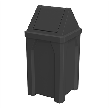 32 Gallon Plastic Receptacle with Swing Door Lid and Liner