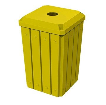 """32 Gallon Plastic Receptacle with 4"""" Recycle Lid"""