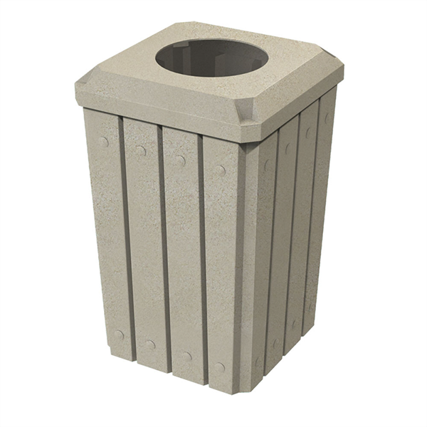 """32 Gallon Square Signature Slat Design Plastic Receptacle with 10"""" Recycle Lid and Liner"""