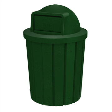 42 Gallon Plastic Receptacle with Dome Top Lid & Liner