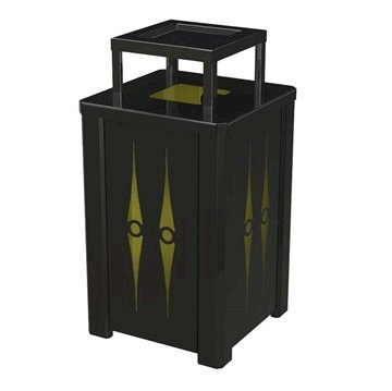 32 Gallon Square Custom Cut Steel Panel Trash Receptacle with Ash-Top & Liner - 61 lbs.