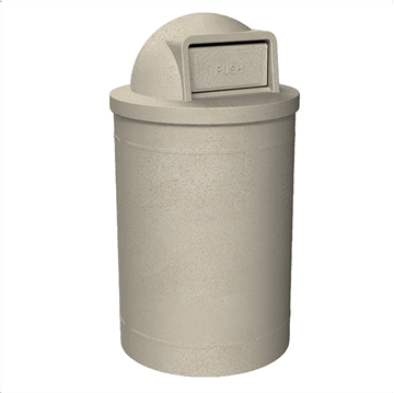 55 Gallon Round Smooth Plastic Receptacle With Dome Top Lid & Liner