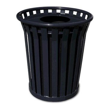 24 Gallon Wydman Series Round Steel Receptacle W/ Liner And Flat Top - 106 Lbs