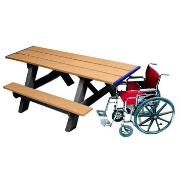 8 Ft. Heavy Duty Recycled Plastic Wheelchair Accessible Rectangular Picnic Table